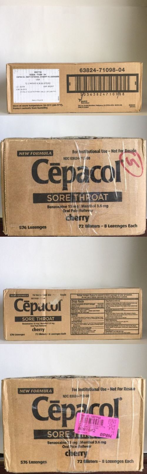 Cough Cold and Flu: Cepacol Sore Throat Benzocain 15Mg| Menthol 3.6Mg Oral Pain 576 Cherry Lozenges -> BUY IT NOW ONLY: $83.59 on eBay!