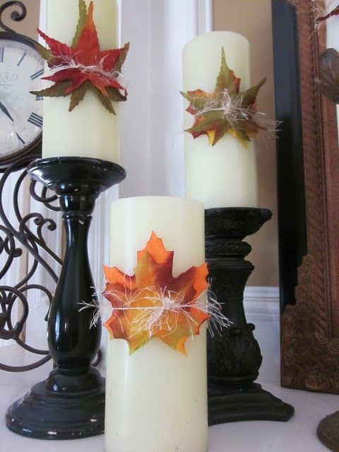 Alter *glue leaves, no candle sticks, use strand of leaves around base, try to find white battery operated candles*