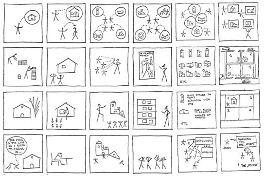 "Yona Friedman's pictograms from Negroponte's ""Computer Aided Participatory Design"" in ""Soft Architecture Machines"""