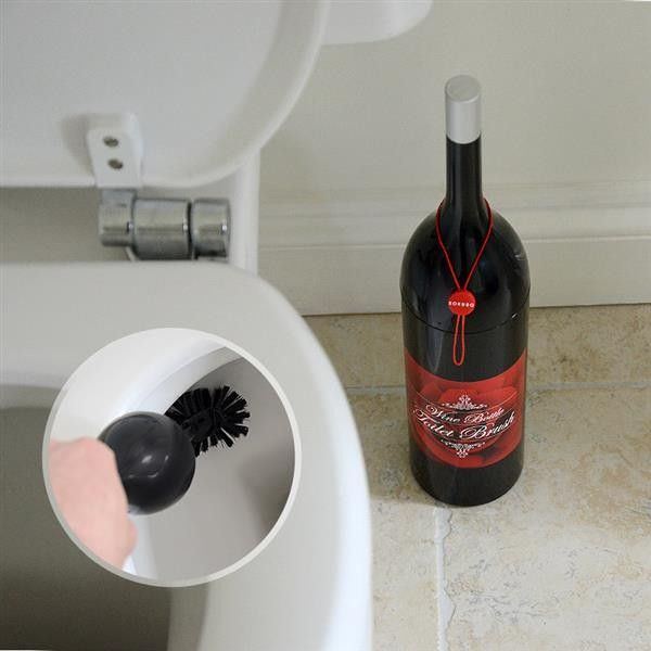 Wine Bottle Novelty Toilet Brush. Your bathroom may well be known to have a funny aroma at times but this unique toilet brush is designed to look like a bottle of wine. Funny bathroom decor perfect for someone well known for drinking lots of red wine.