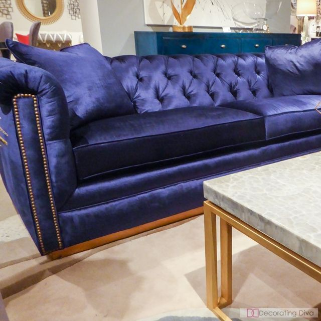 Cynthia Rowley For Furniture Blue Velvet Tufted Sofa The Decorating Diva Llc Pinterest And Couch