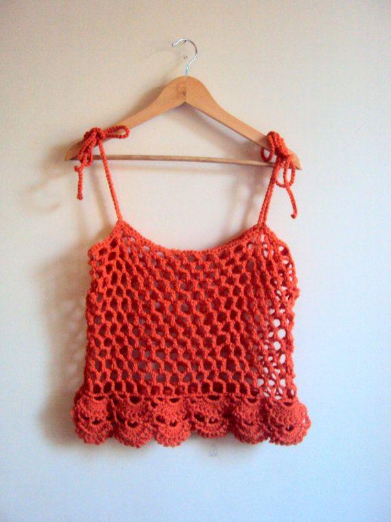 Crochet Mesh Top Loose Top Crop Top Gypsy Top by GrahamsBazaar