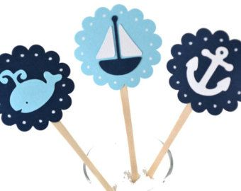 12 Nautical Cupcake Toppers / Sailboat Cupcake by sunshowerstuff