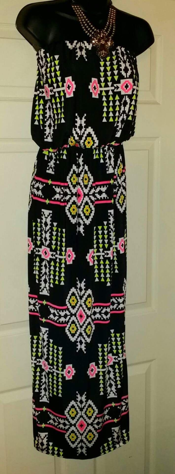 Classic Dash Neon Tribal Maxi Dress $35 www.gypzranch.com