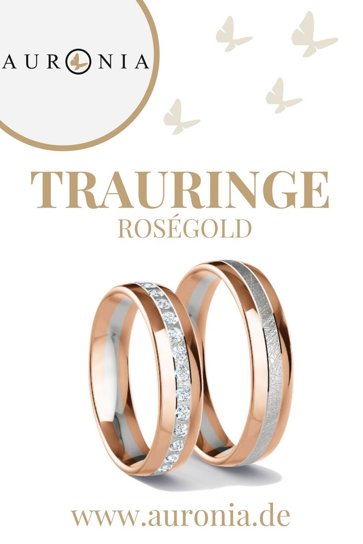 Eheringe Bicolor Rosegold/Weissgold 333 - 0.32 ct. Diamanten - Modell Wesel