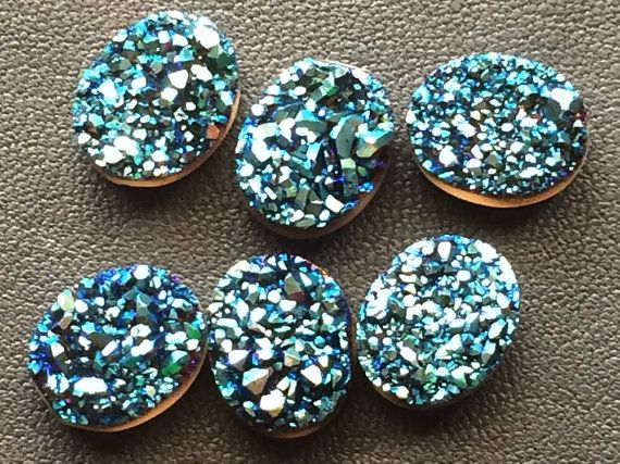 10 Pcs WHOLESALE LOT Peacock Blue DruzyTitanium by gemsforjewels