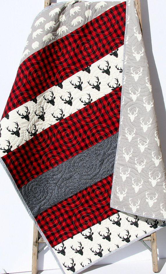 Buffalo Check, Plaid, Babydecken, Trending Now, Buffalo Plaid, Woodland, Woodland Boy Quilt, Bauernhaus, Kindergarten, Buffalo Plaid Quilt Boy  – Rag quilt patterns