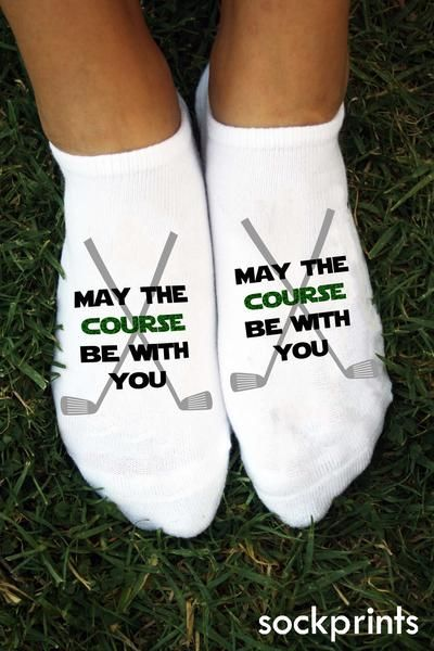 May The Course Be With You Always! Purchase a pair for your feet and another for your golf bag to keep The Force flowing strong with you on all 18 holes. A fun