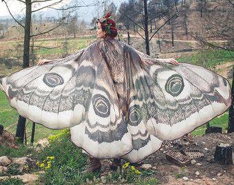 Flügel Schmetterling Butterfly Fairy Cape Umhang braun und weiß Isis Flügel Kostüm Erwachsene Hochzeits Fee handfasting
