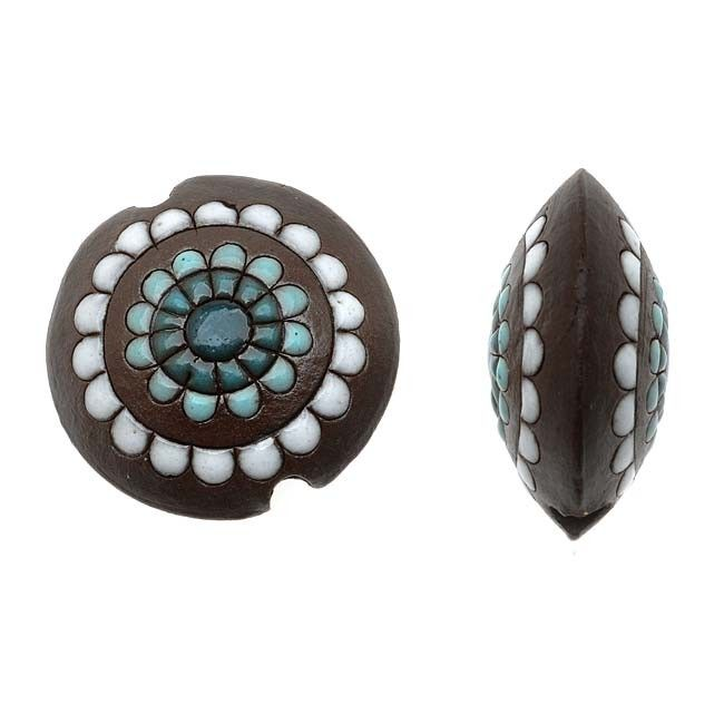 This lovely clay bead from Golem Studio features a lentil shape. Bead is a chocolate brown color with teal and white abstract pattern.Bead is made from white stoneware clay. Each bead is hand shaped and fired at 900 degrees. Then the patterns are applied by hand, before a final firing sets the glazes in their vibrant colors. These lightweight clay beads are great for a pair of earrings. Note: Beads are handmade so each may differ slightly. (Limited Quantities Available). Measurements: 23mm…