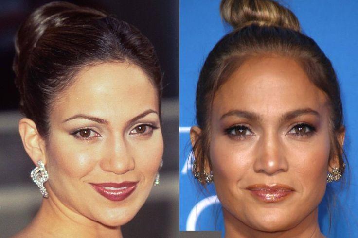 So sehr verändern Augenbrauen das Gesicht -                         Früher dünn gezupft und eckig, heute natürlich voll: Jennifer Lopez (47) lässt ihren Augenbrauen freien Lauf und sieht direkt weicher und femininer aus.