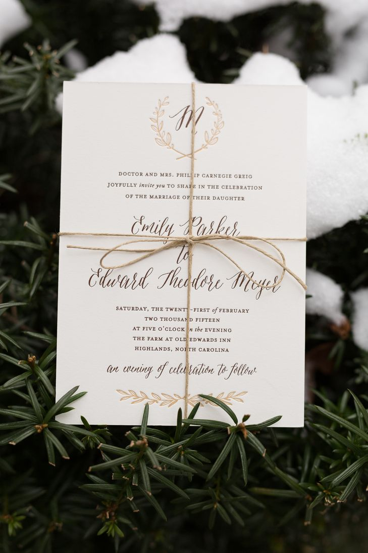 Personalized Gold and Bronze Wedding Invitations | Photo: Nick Breedlove Photography