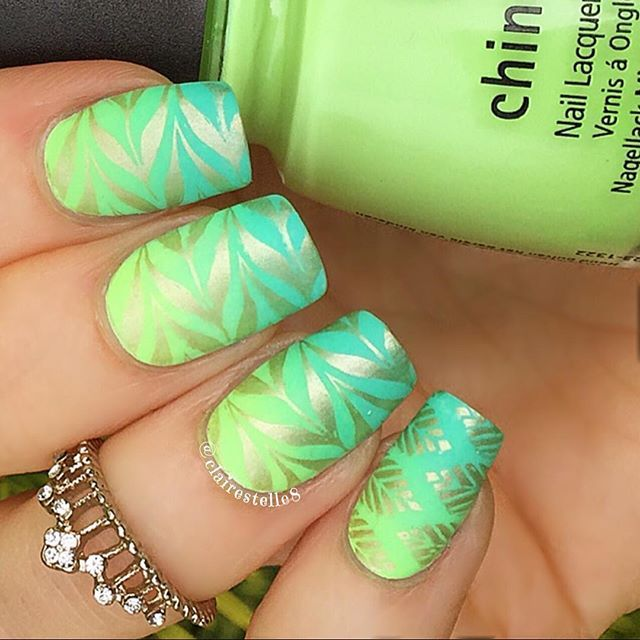 a gradient of @chinaglazeofficial Too Yacht to Handle, Highlight of My Summer and Grass is Lime Greener and stamped with @bornprettystore BP41, mattified #nailart #chinaglaze #bornpretty
