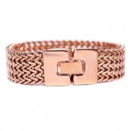Stilrent+roséfärgad+armband+i+rostfritt+stål+med+klocklås+och+en+bredd+på+25+mm,+från+Edblad+i+serien+Lee.