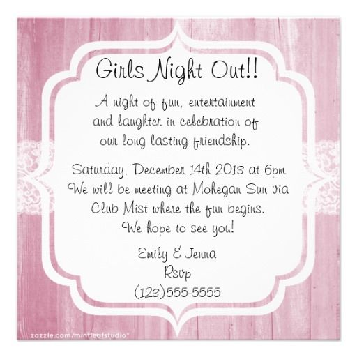 10 best invitations for bdays and girls night images on pinterest shabby chic vintage pink wood girls night out announcements stopboris Choice Image