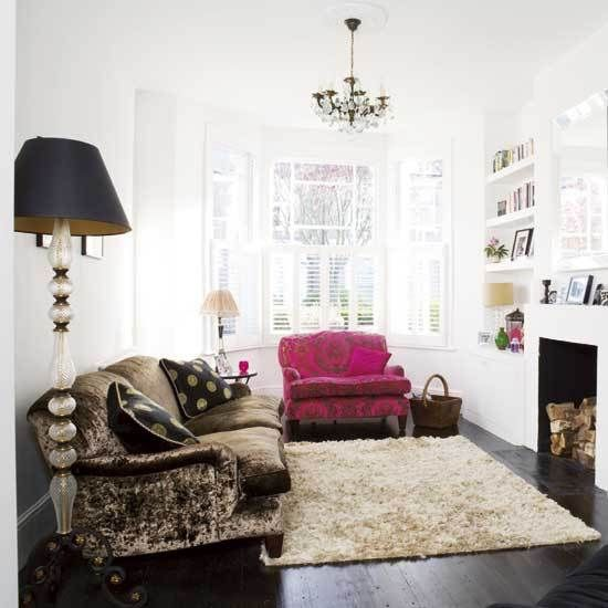 Pink Chair, shag white carpet on hard wood
