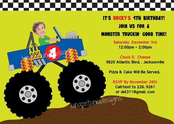 monster truck your kid driving birthday party invitation any