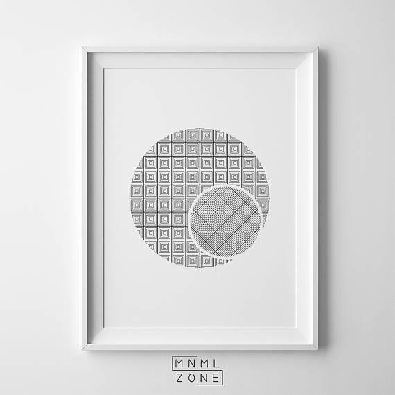 Circle Abstract, Circle Print, Round Grid Abstract, Abstract Wall Art, Double Circle, Nordic Poster, Large Home Decor, Contemporary Gift, Digital Download, Modern Scandinavian, Printable Scandi, Geometric Living Room