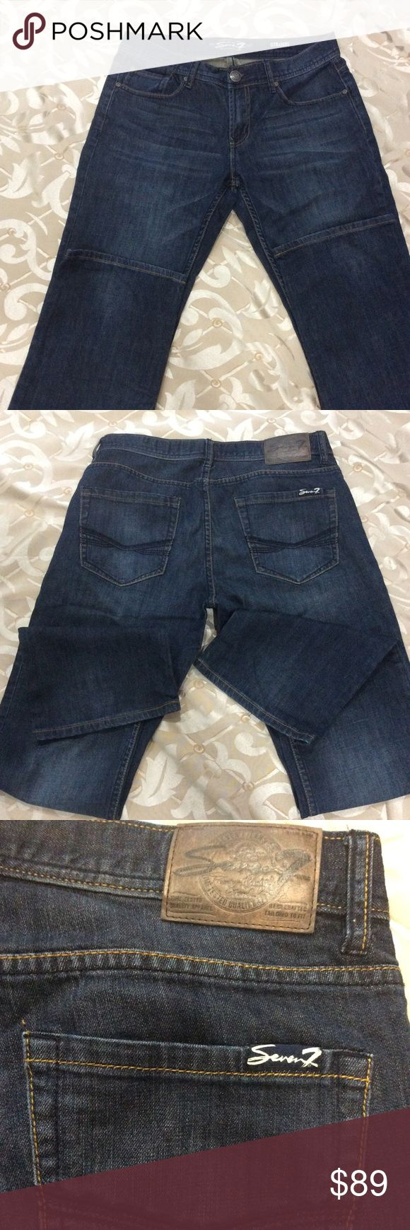 SEVEN7 MENS DARK JEANS size 32/34 SEVEN7 mens dark wash jeans, never worn great condition. 99% cotton 1% spandex.  Smoke and pet free home. Seven7 Jeans Straight