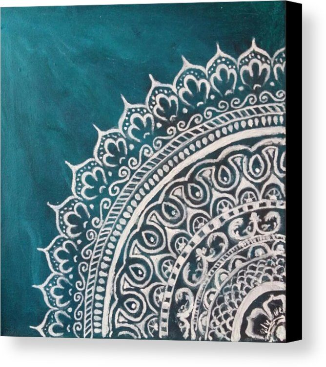 Mandala Canvas Print featuring the painting Jade Mandala by Jennie Hallbrown More