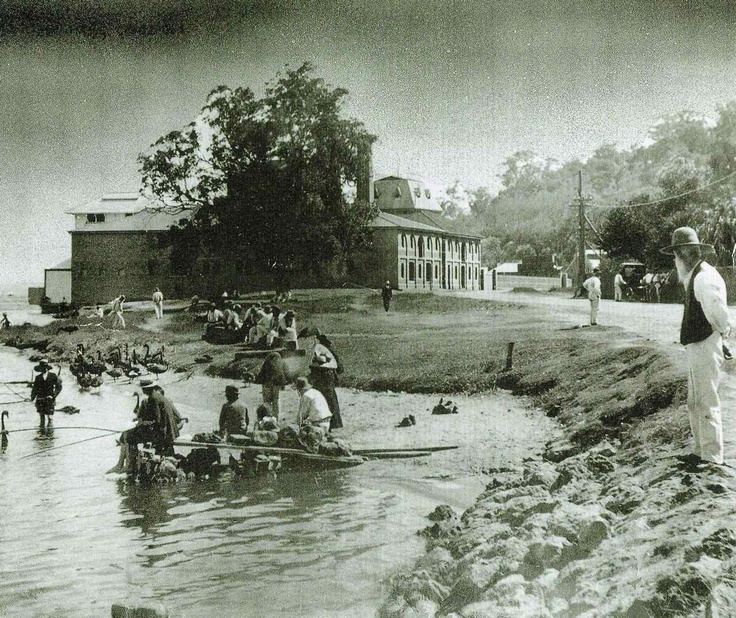 Fishing by the Swan Brewery distillery, Mounts Bay Road, Perth. The brewery opened in 1837. It has since been redeveloped. http://en.wikipedia.org/wiki/Swan_Brewery Apparently the fishermen are from the old men's depot across the road at the foot of Mount Eliza (upon which Kings Park was established). The depot was basically a poor house.