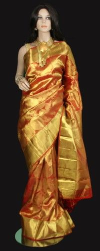 Shimmering Gold Bridal Kanjeevaram Saree