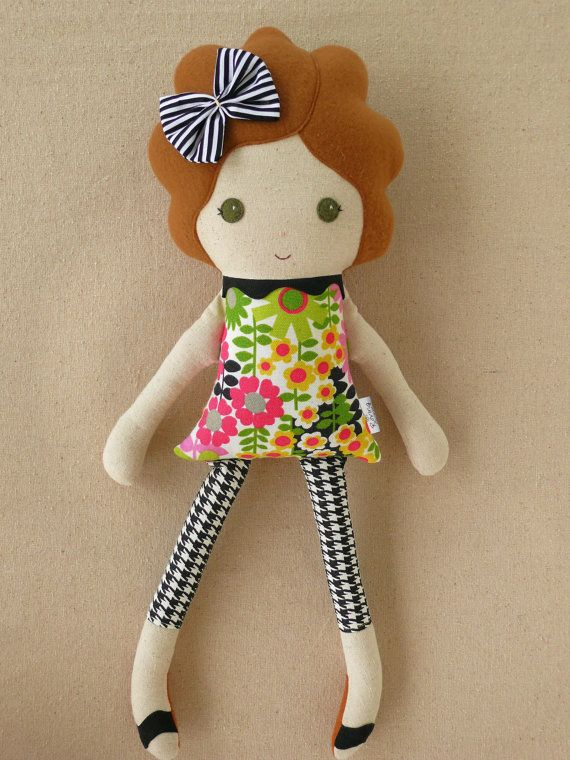 Fabric Doll Rag Doll Girl in Floral Dress, Houndstooth Leggings, and Black and Pink Tutu