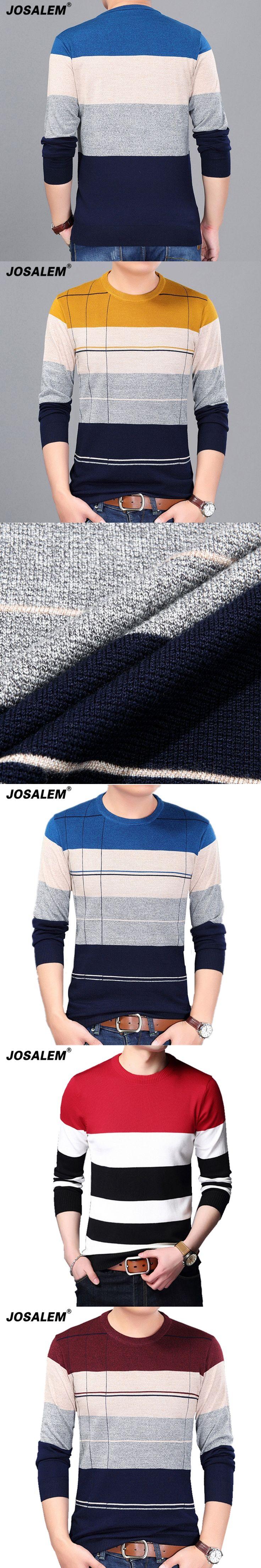 JOSALEM Men Striped Sweater 2017 Autumn Fashion Man Sweater Casual O-neck Slim Fit Knitting Pullovers Men's Sweater Knitwear