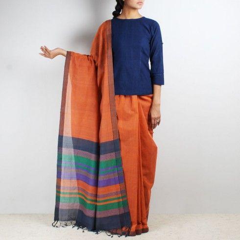 Orange Mangalgiri cotton saree with multicolor sriped palla - Shop for Sarees Online at tadpolestore.com