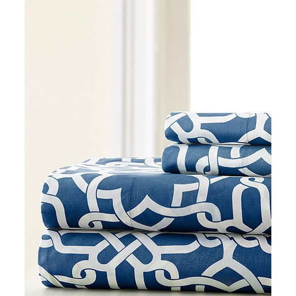 Spirit Linen Navy Ruthy Sheet Set ($17) ❤ liked on Polyvore featuring home, bed & bath, bedding, bed sheets, patterned pillow cases, dark blue bedding, navy pillow cases, dark blue pillow cases and navy blue bedding