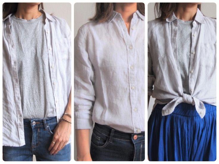 プチプラで上質無印リネンシャツのコーデ実例