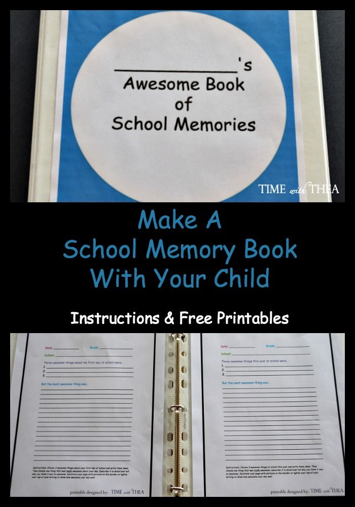 Make A School Memory Book With Your Child ~ Now is the time to organize a school memory book to complete with your child to capture the highlights for each month. It is an easy idea to with printables included!