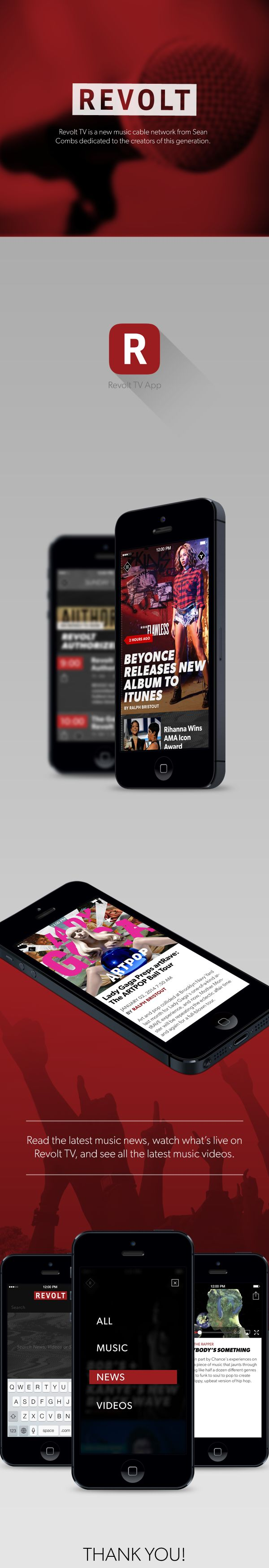 Revolt TV Mobile App by Myan Duong, via Behance