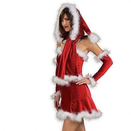 Capucha Mama Noel con Bufanda  En Mercadisfraces, podrás comprar tus disfraces baratos para Navidad.