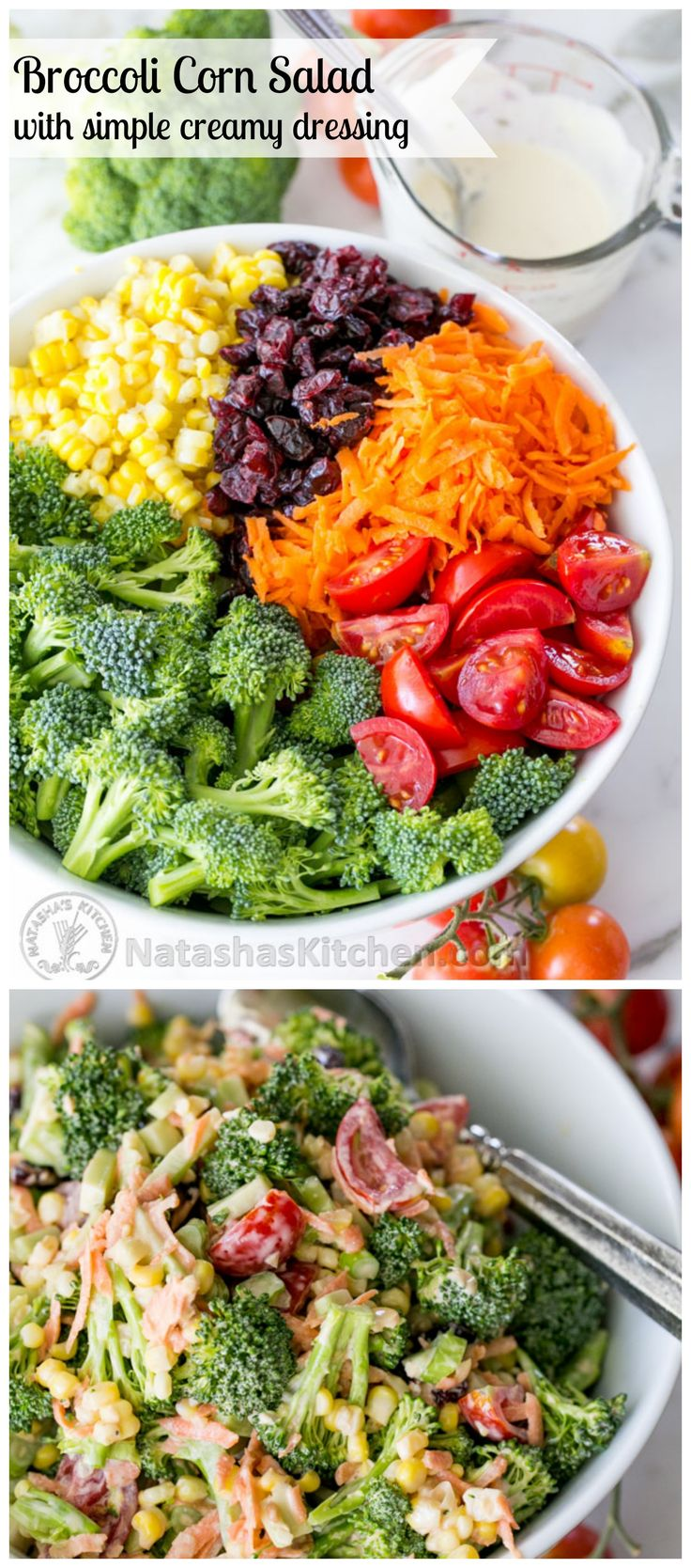 Broccoli Corn and Tomato Salad. This one's a keeper! @natashaskitchen