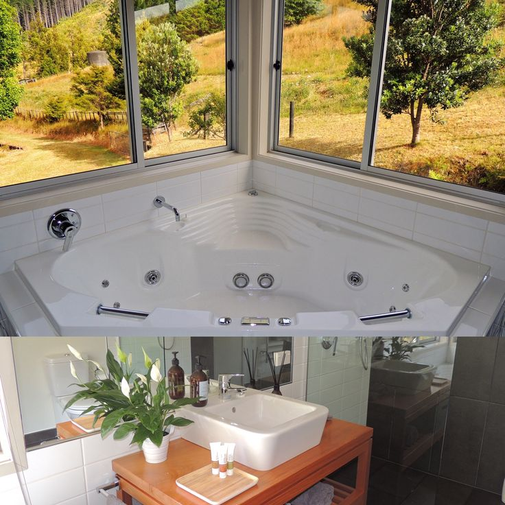 Woodyhanger Lodge bathroom - spa bath with a view