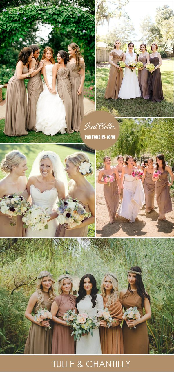 iced coffee brown spring bridesmaid dresses ideas 2016