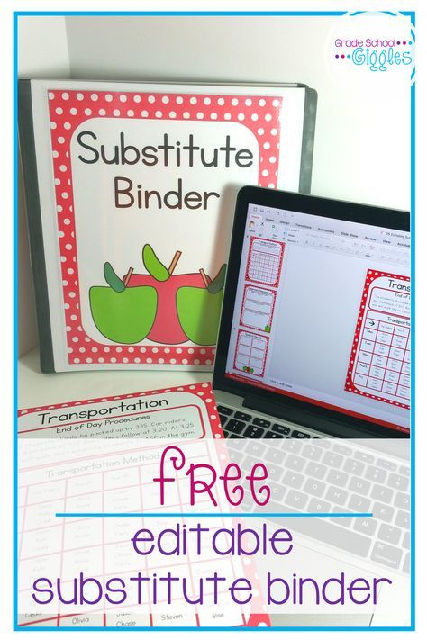 This free apple theme substitute binder is full of editable templates and forms to help substitute teachers keep the classroom on track while you are out. This freebie has everything from a printable cover to an editable note that you might need to get together a sub folder. Just fill in your own information, tips, and schedule. Add in appropriate learning activities for your children and you will we prepared for any absence.