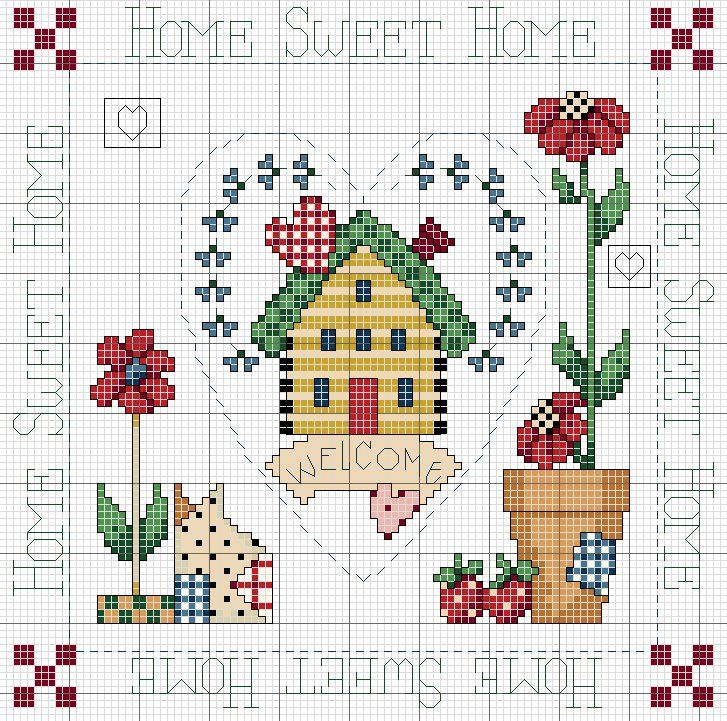 "<3 home ""Home Sweet Home"" cross-stitch"