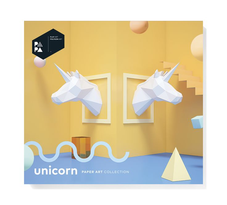 PAPA Unicorn White Package Front | Play Art. Polygon Art. Do Art Yourself.