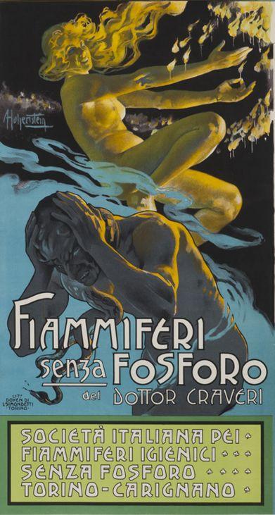 Poster by Adolfo Hohenstein, ca 1900,  Fiammiferi Senza Fosforo. (I)