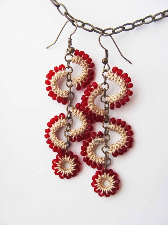 Frosted red beads and cream cotton crochet earrings in unique original design, summer whimsy, long dangle, beaded, playful boho feminine