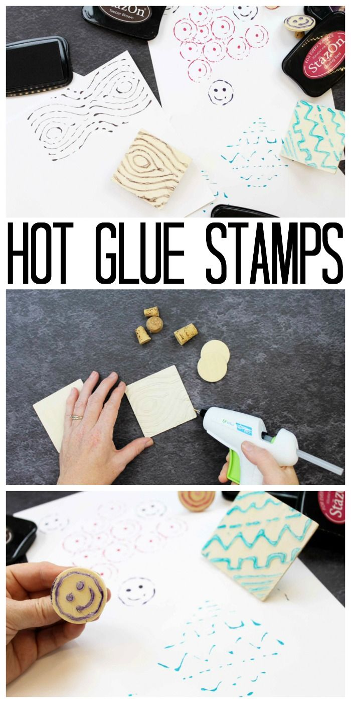 Make Your Own Stamp With Hot Glue Craft Pinterest Glue Gun