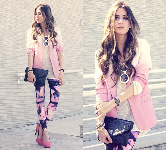 : Fashion, Clothes, Street Style, Outfit, Legging, Pink Blazers