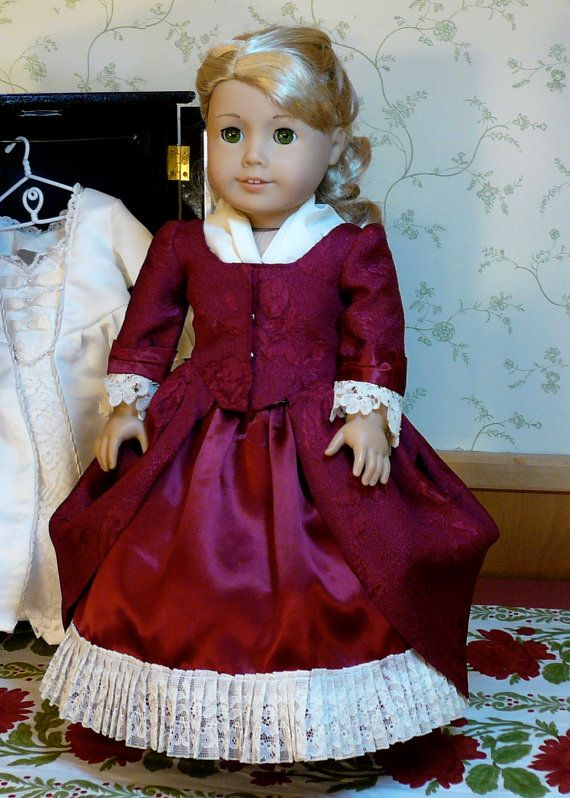 American Girl, 18 inch doll clothes: Colonial dress with undergarment and pockets