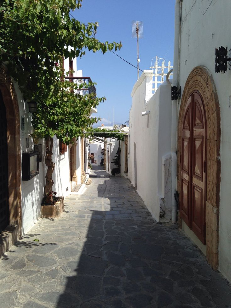 Small streets in Lindos, Rhodes