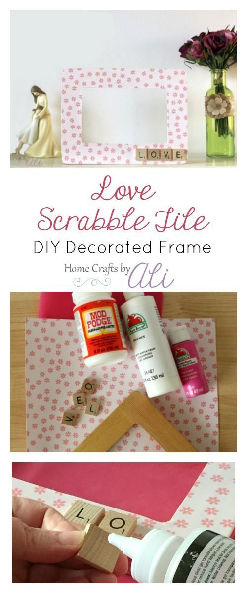 Love Scrabble Tile DIY Decorated Frame - Easy DIY decorated photo frame