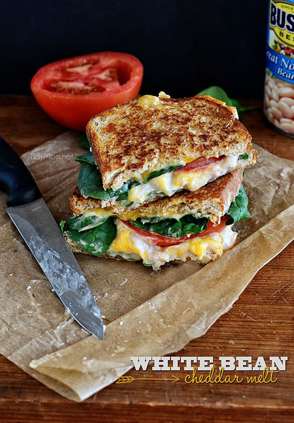 White Bean Cheddar Melt #Sandwich recipe at TidyMom.net