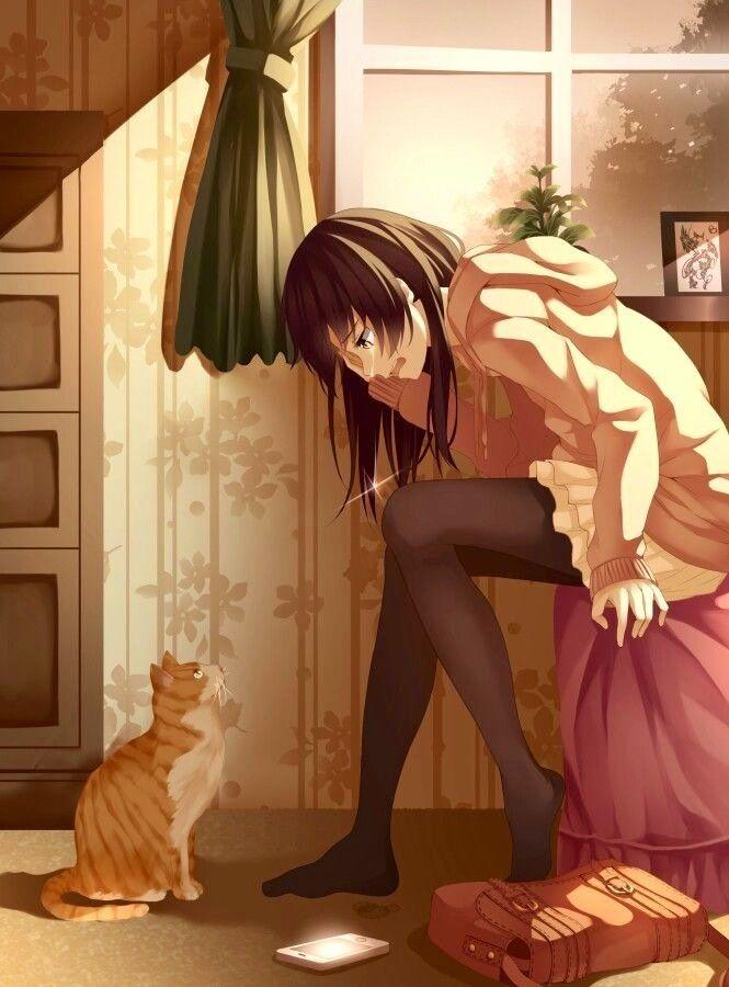 cuddles the cat