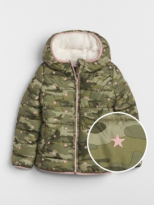 9c7a8b50e91 Gap Girls Coldcontrol Max Sherpa Puffer Jacket Camouflage | Products ...
